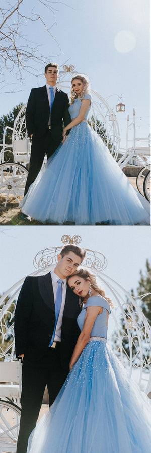 Blue tulle two pieces long prom dress blue formal dress