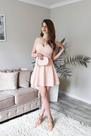 Simple chiffon pink short prom dress, pink bridesmaid dress
