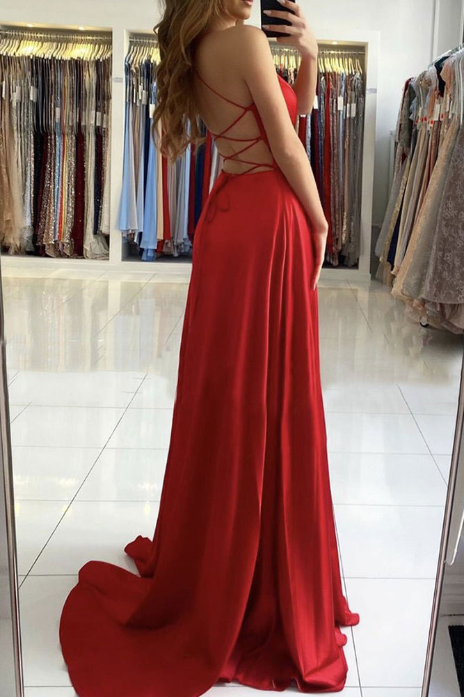 Simple red v neck satin long prom dress red evening dress