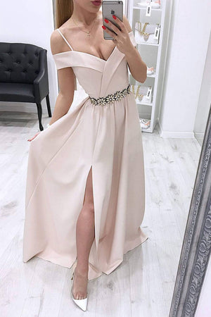 Unique off shoulder long prom dress, evening dress