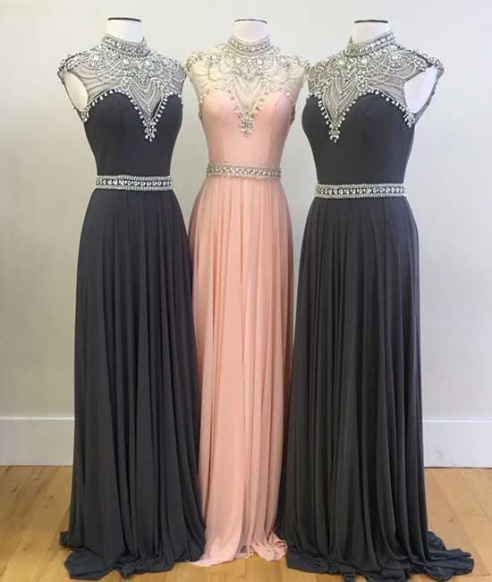 High neck sequin bead chiffon long prom dress, evening dress - shdress