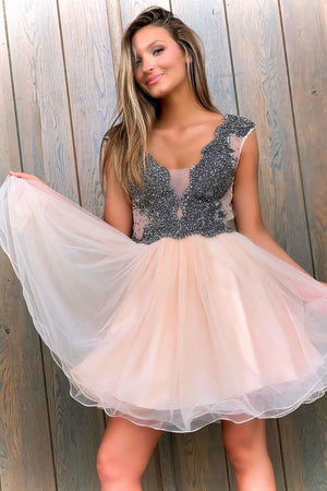 Cute v neck tulle beads short prom dress tulle homecoming dress