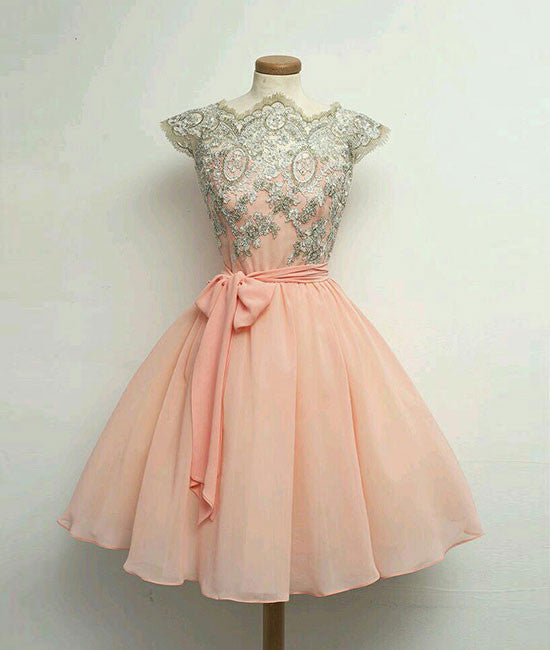 Custom Made Pink Lace Short Prom Dress, Homecoming Dress