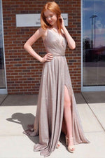 Simple v neck sequin satin long prom dress sequin evening dress