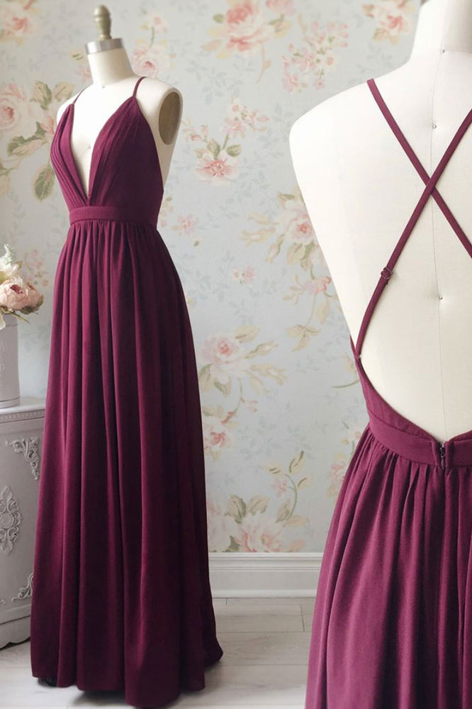 Burgundy chiffon long prom dress, burgundy evening dress