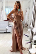 Simple v neck long prom dress, chiffon evening dress