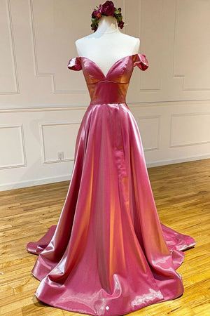 Simple sweetheart off shoulder satin long prom dress