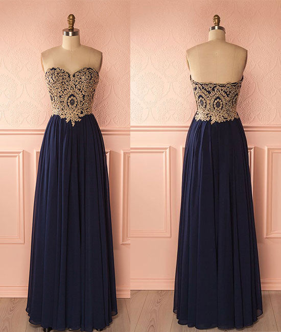 Sweetheart neck lace dark blue long prom dress, evening dress