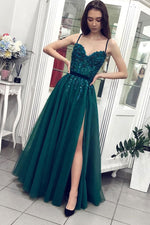 Green sweetheart neck tulle lace long prom dress green evening dress