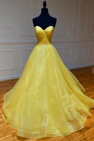 Yellow tulle sweetheart long prom dress yellow formal dress