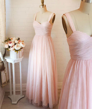 Pink sweetheart neck tulle long prom dress, pink evening dress - shdress