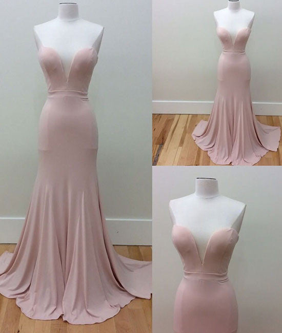 Pink sweetheart neck mermaid long prom dress, pink evening dress - shdress