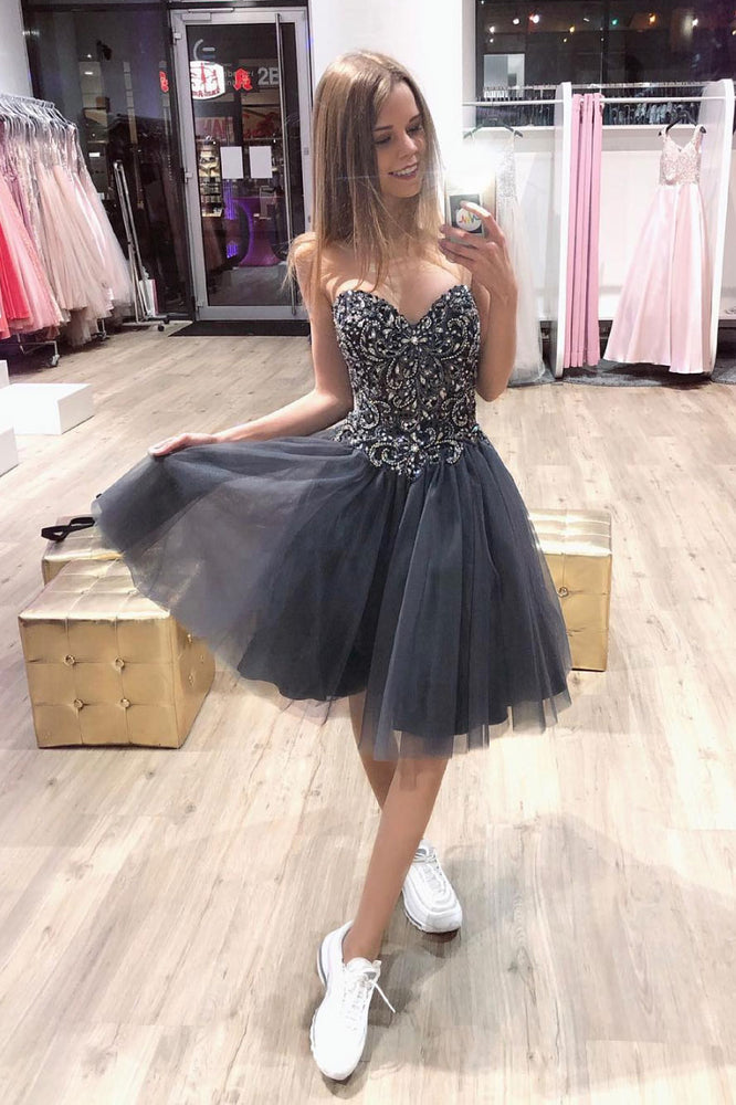 Gray sweetheart neck tulle beads short prom dress, homecoming dress