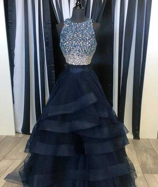 Black two pieces sequin long prom dress, black evening dress