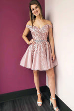 Pink off shoulder lace tulle short prom dress tulle cocktail dress