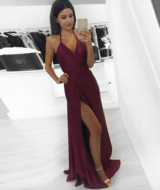 Simple v neck burgundy long prom dress, burgundy evening dress - shdress