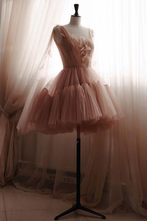 Simple tulle short prom dress, tulle homecoming dress