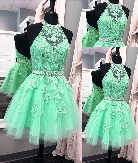 Green lace short prom dress, green homecoming dress - shdress