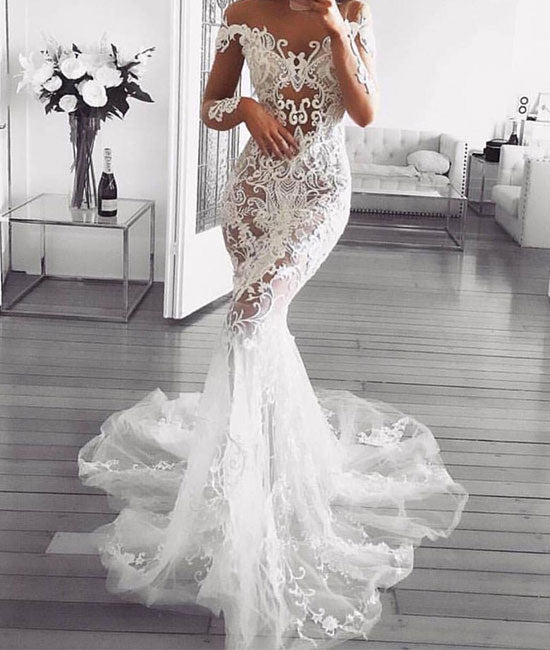 Unique white lace applique tulle mermaid long prom dress, white evening dress - shdress