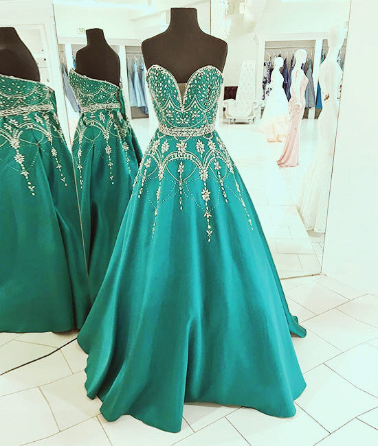 Green sweetheart neck beads long prom dress, green evening dress