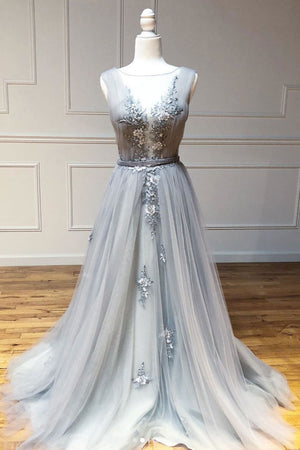 Gray round neck tulle lace long prom dress gray lace evening dress