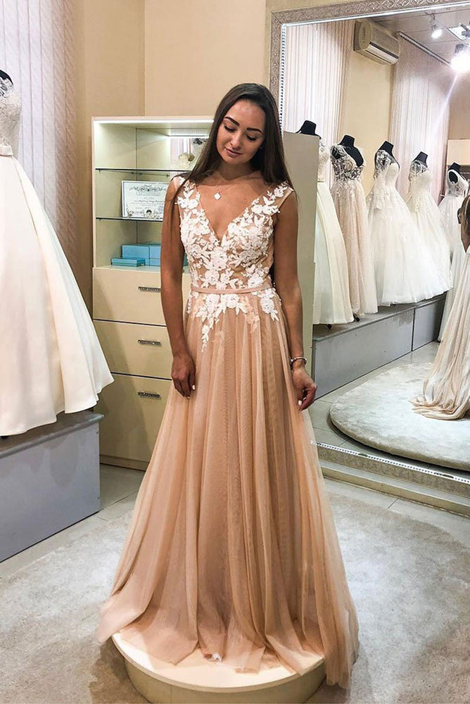 Champagne v neck tulle lace long prom dress, champagne evening dress