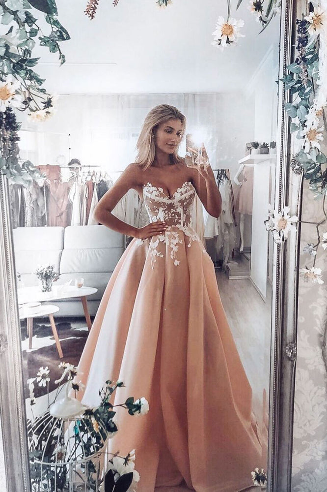 Champagne pink sweetheart tulle lace long prom dress lace evening dress