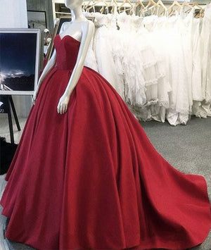 Simple red sweetheart neck red long prom gown, red evening dress - shdress