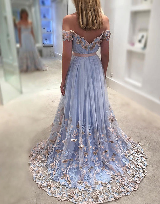 5502d16c2d Unique tulle light blue long prom dress