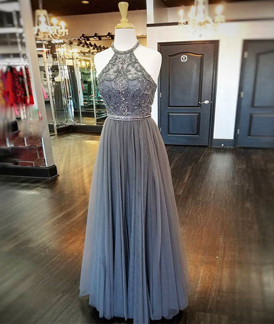 Gray high neck tulle beads long prom dress, gray evening dress