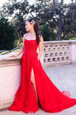 Red tulle lace long prom dress backless lace long evening dress