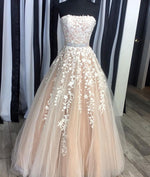 Champagne tulle lace long prom dress, evening dress