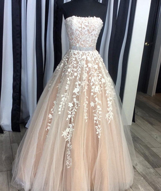 Champagne tulle lace long prom dress, evening dress - shdress