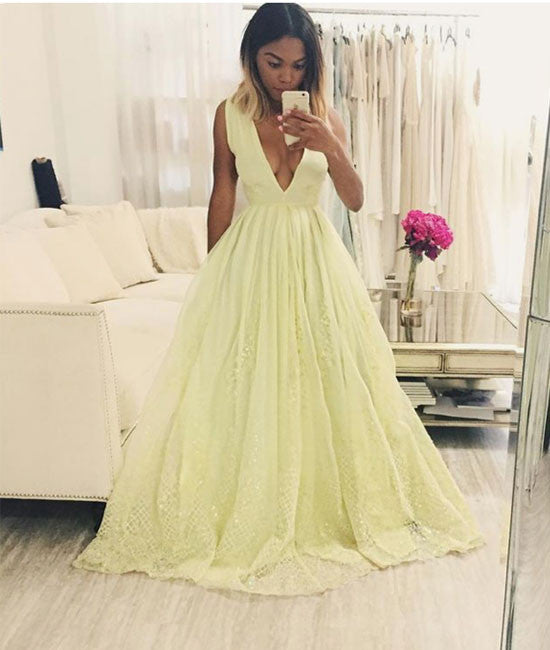 Yellow a-line v neck lace long prom dress, yellow evening dress