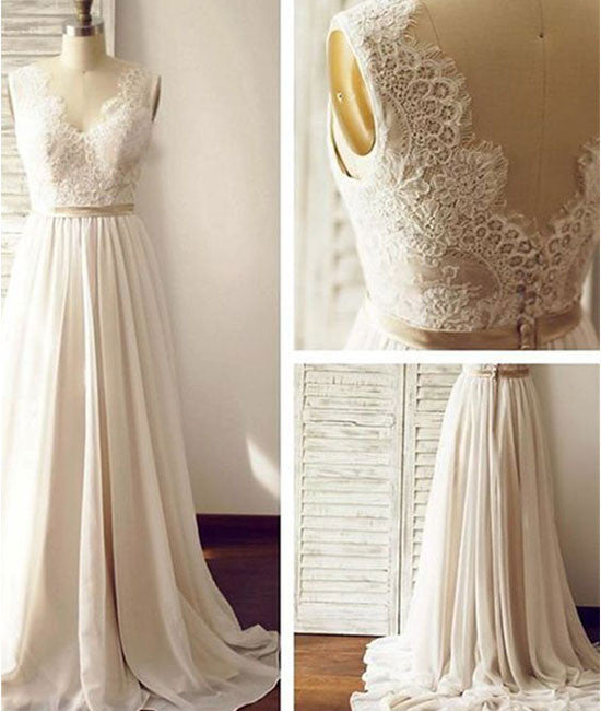 White A-line v neck chiffon lace long prom dress, bridesmaid dress