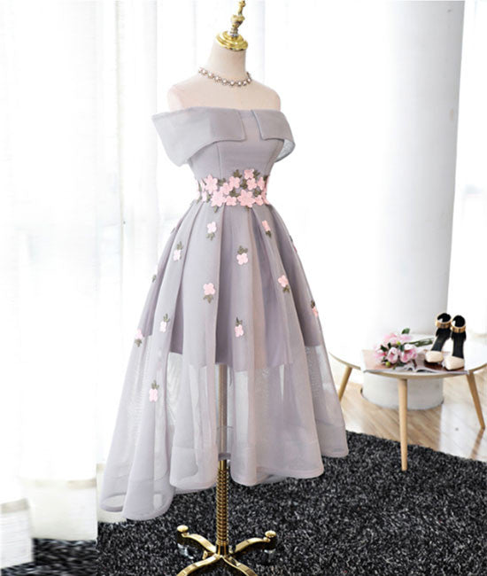 Gray Organza hight-low prom dress, gray bridesmaid dress
