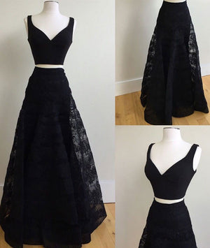 Cute black two pieces lace long prom dress, black evening dress - shdress