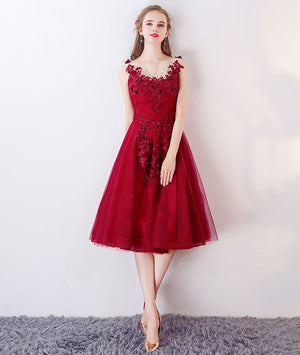 Burgundy tulle lace short prom dress, burgundy lace homecoming dress