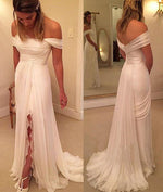 White off shoulder long prom dress, white evening dress