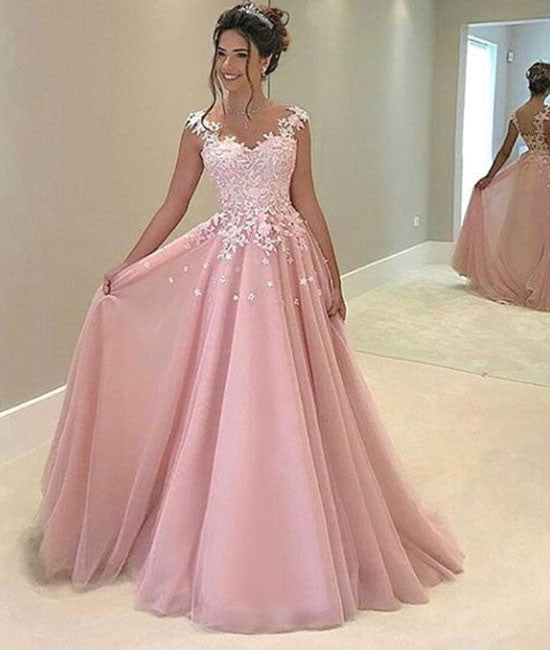 Cute Pink chiffon lace prom dress, pink evening dress