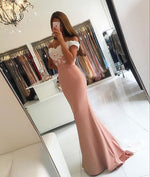 Pink off shoulder lace mermaid long prom dress, bridesmaid dress
