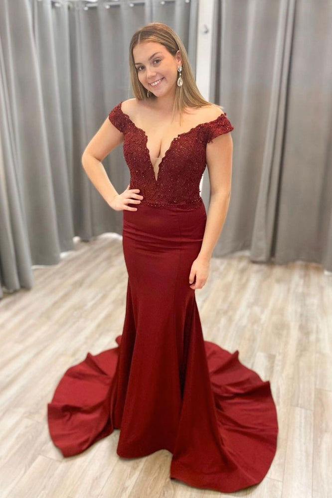 Burgundy v neck satin lace long prom dress burgundy evening dress