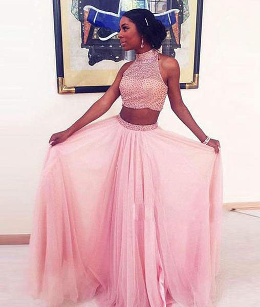 Pink Tulle Sequin Two Pieces Long Prom Dress, Pink Evening Dress - shdress