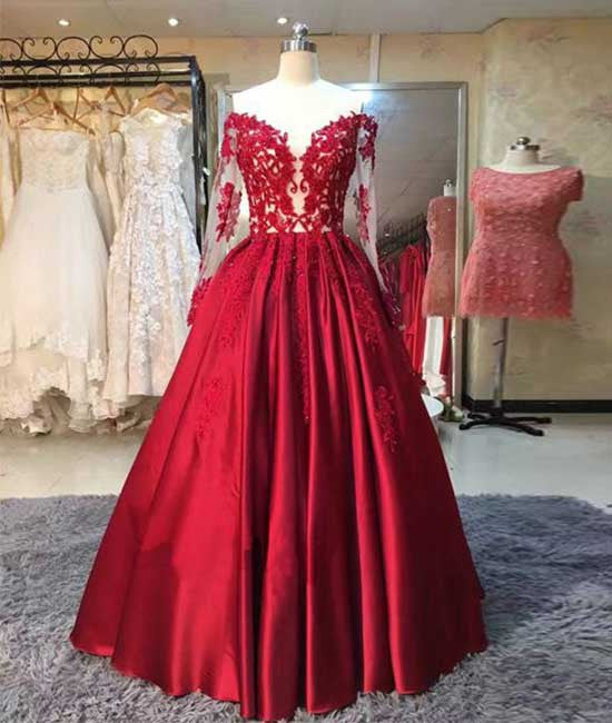 Red long sleeves lace long prom dress, red evening dress - shdress