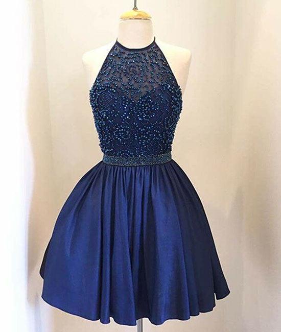 Dark blue beaded Short Prom Dress, Homecoming Dress