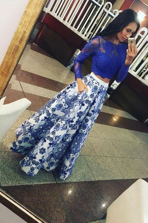 Blue satin lace long prom dress blue lace evening dress
