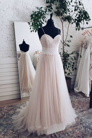 Champagne tulle sweetheart lace long prom dress tulle formal dress