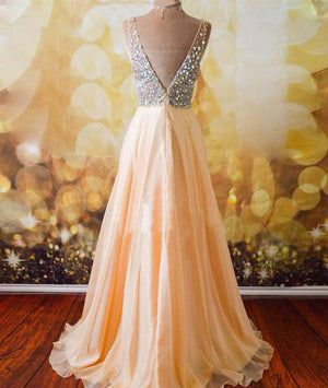 Champagne A-line  v neck Chiffon Long Prom Dress, Formal Dresses - shdress