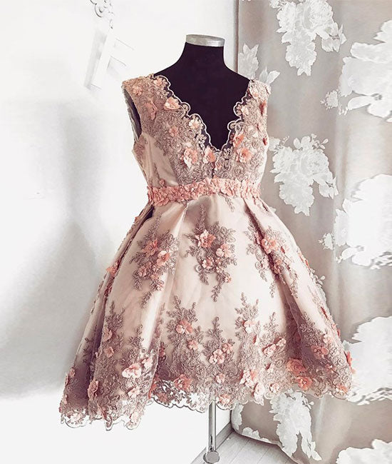 Pink v neck lace short prom dress, pink homecoming dress