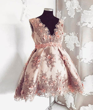 Pink v neck lace short prom dress, pink homecoming dress - shdress